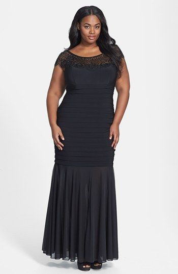 Xscape Beaded Yoke Chiffon Gown (Plus Size) available at ...