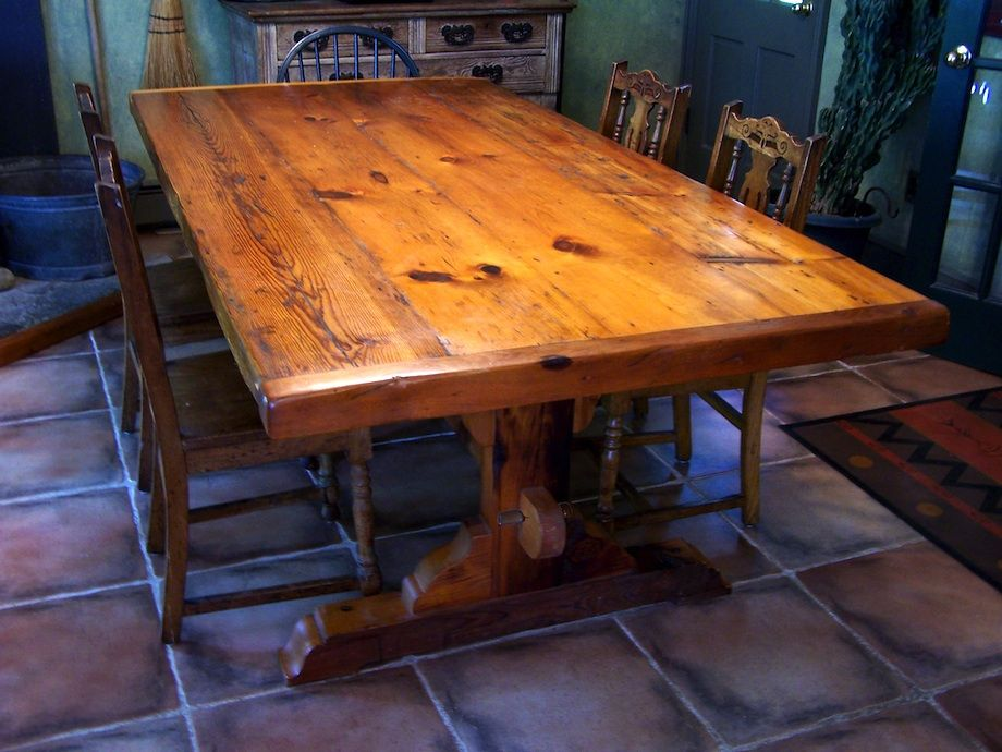 Trestle Table Made With Reclaimed Wood.