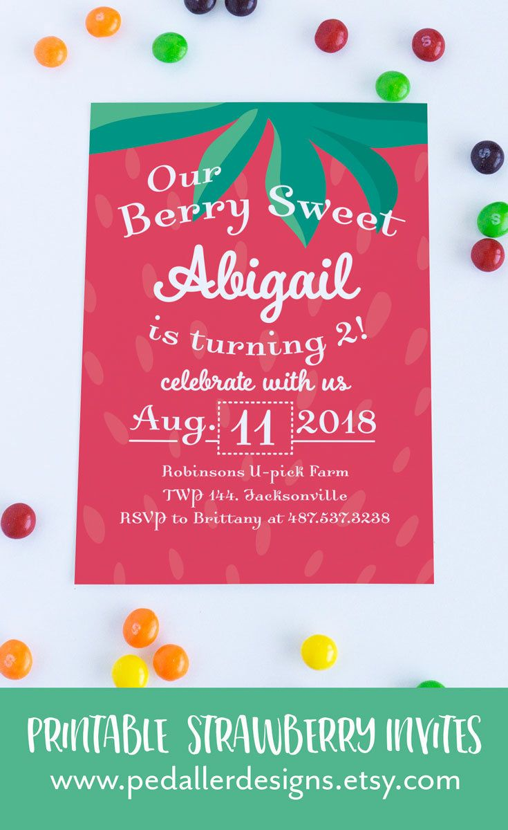 Strawberry Birthday Invitation, Berry Invitation, Girl First ...