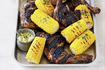 Barbecued corn with butter and chives