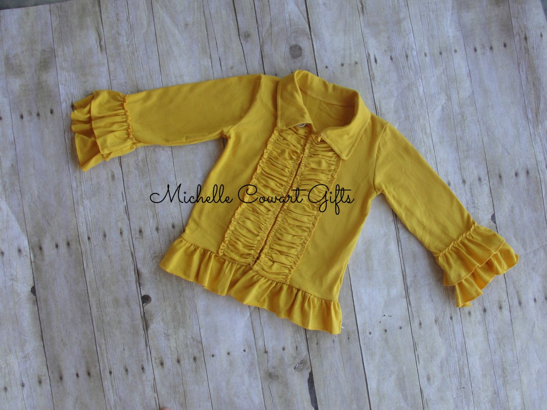 Ruffle Cardigan, Ruffle Jacket, Mustard, Girls, Toddler, Sweater ...