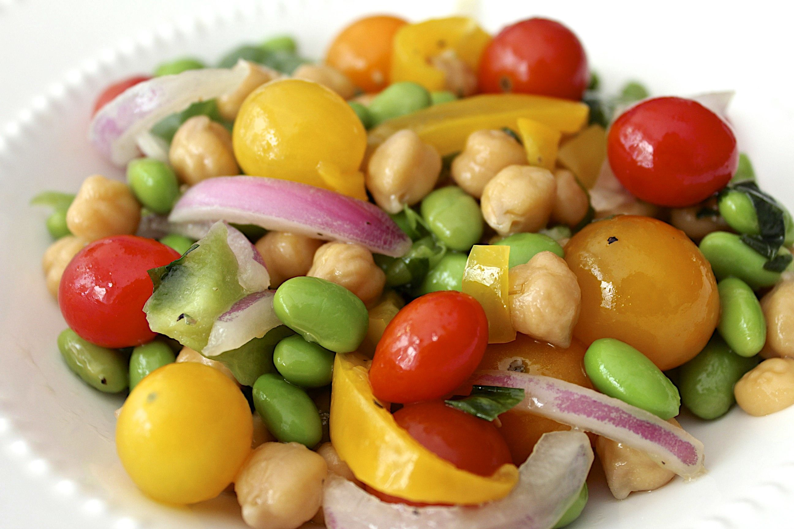 Garbanzo and edamame salad healthy recipes edamame