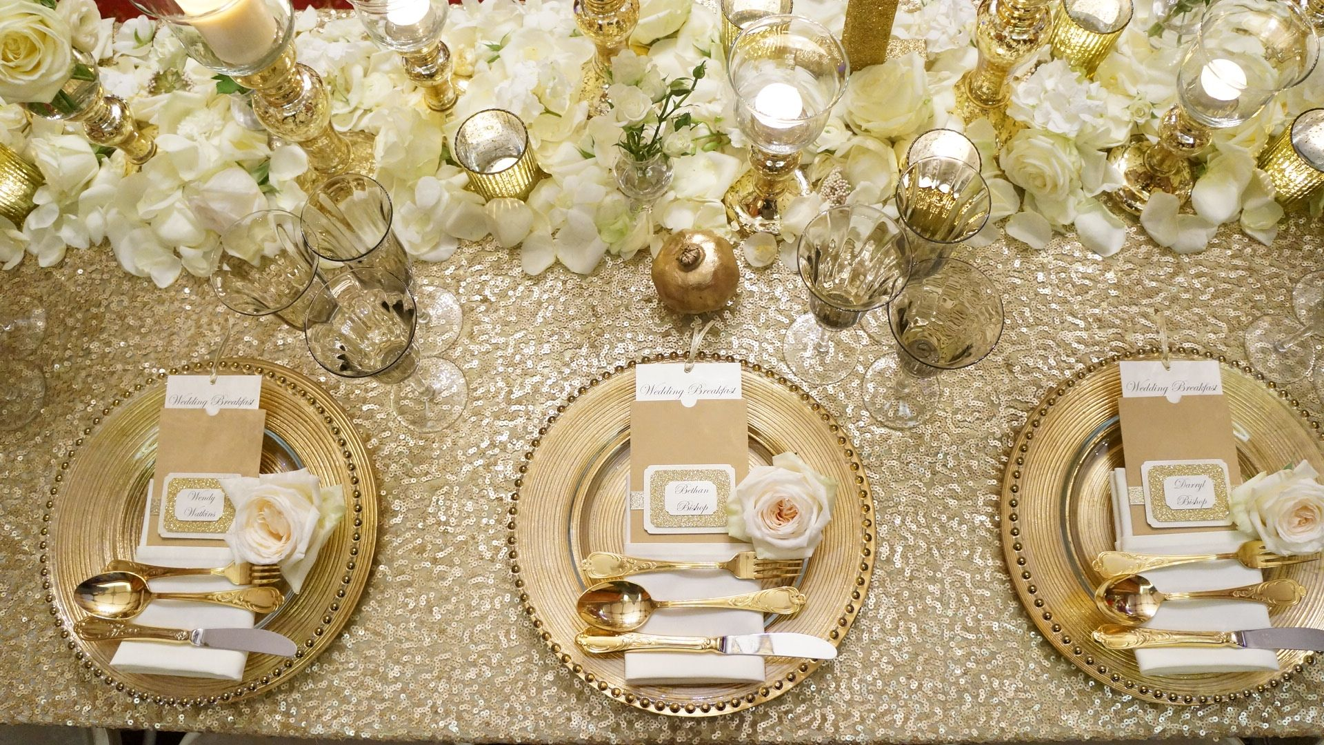 Gloswed Event Gold Sequin Tablecloth Gold Charger Plates