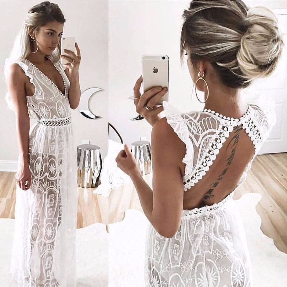 Lace v neck maxi dress   Shades Of Lace Beach Dress  Want  Pinterest  Beach dresses