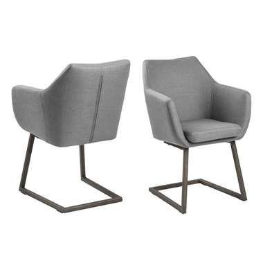 Chaise de salle à manger Uppsala piètement luge - tissu - gris clair