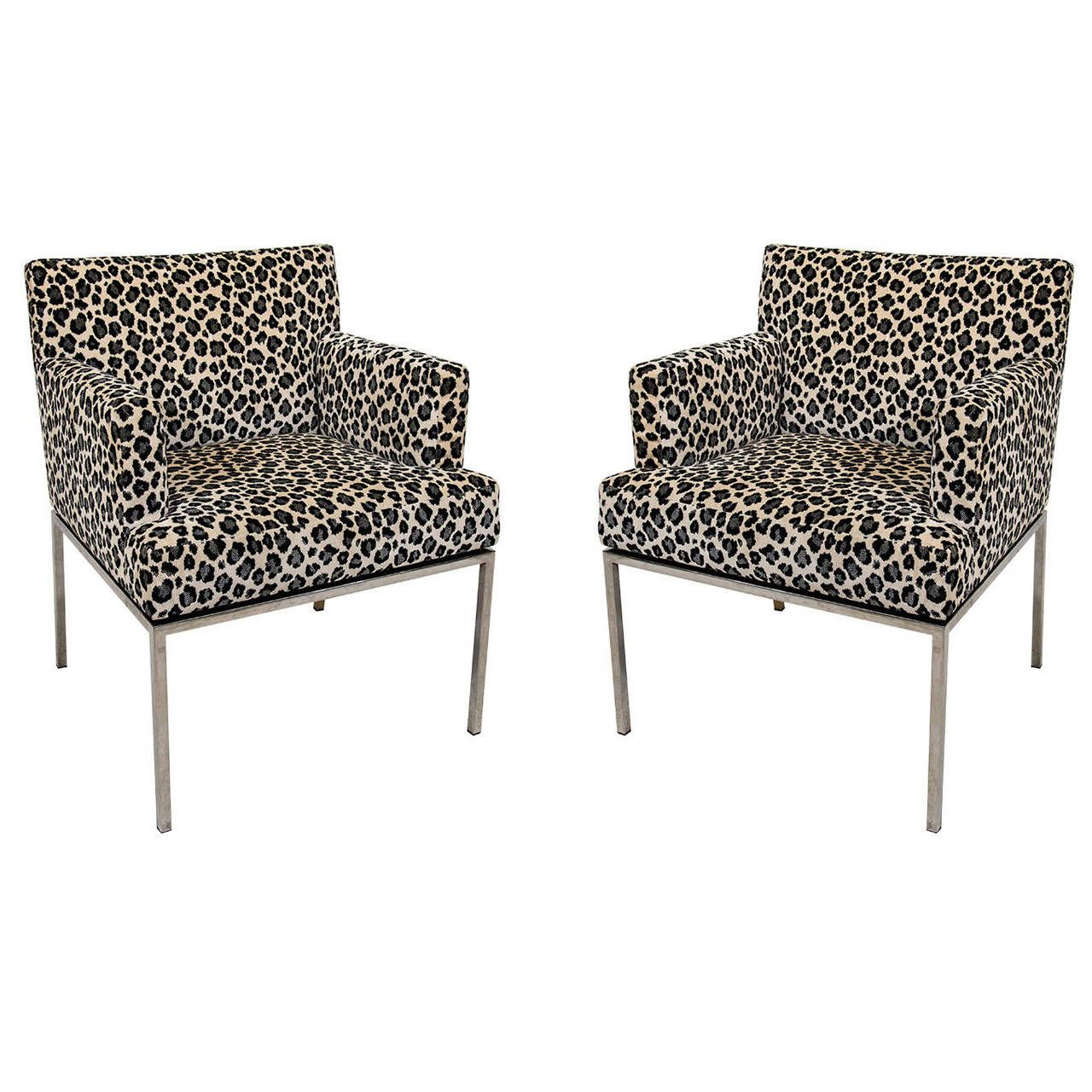 Pair Of Leopard Print Modernist Lounge Chairs From A Unique Collection Antique And Modern