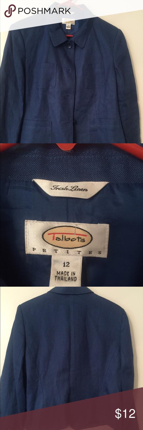Linen jacket Royal blue Irish Linen 4 button jacket w/patch same color pockets Talbots Jackets & Coats Blazers