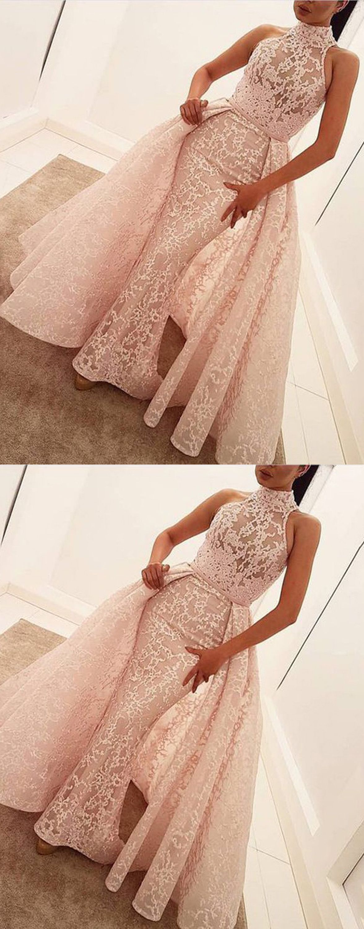 Mermaid high neck sweep train pearl pink lace prom dress with