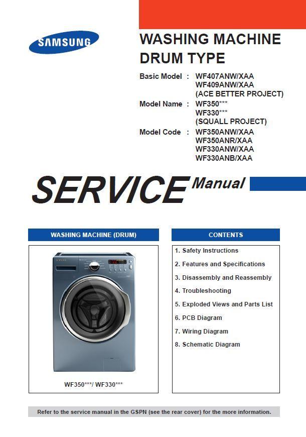 Samsung WF350ANP WF350ANW WF350ANR WF330ANW WF330ANB Washer Service