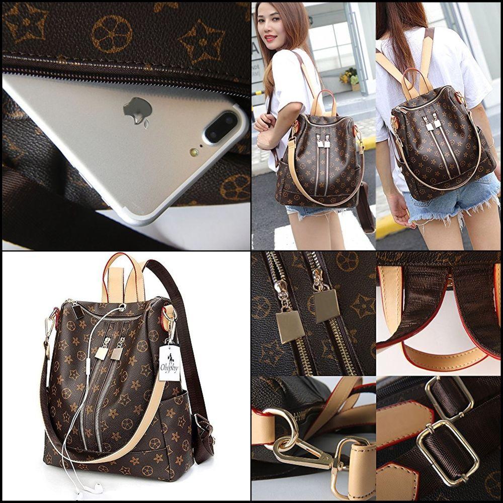 fac2293eb Olyphy Designer Leather Backpack Purse Women Fashion PU Shoulder Bag Handbag  New.
