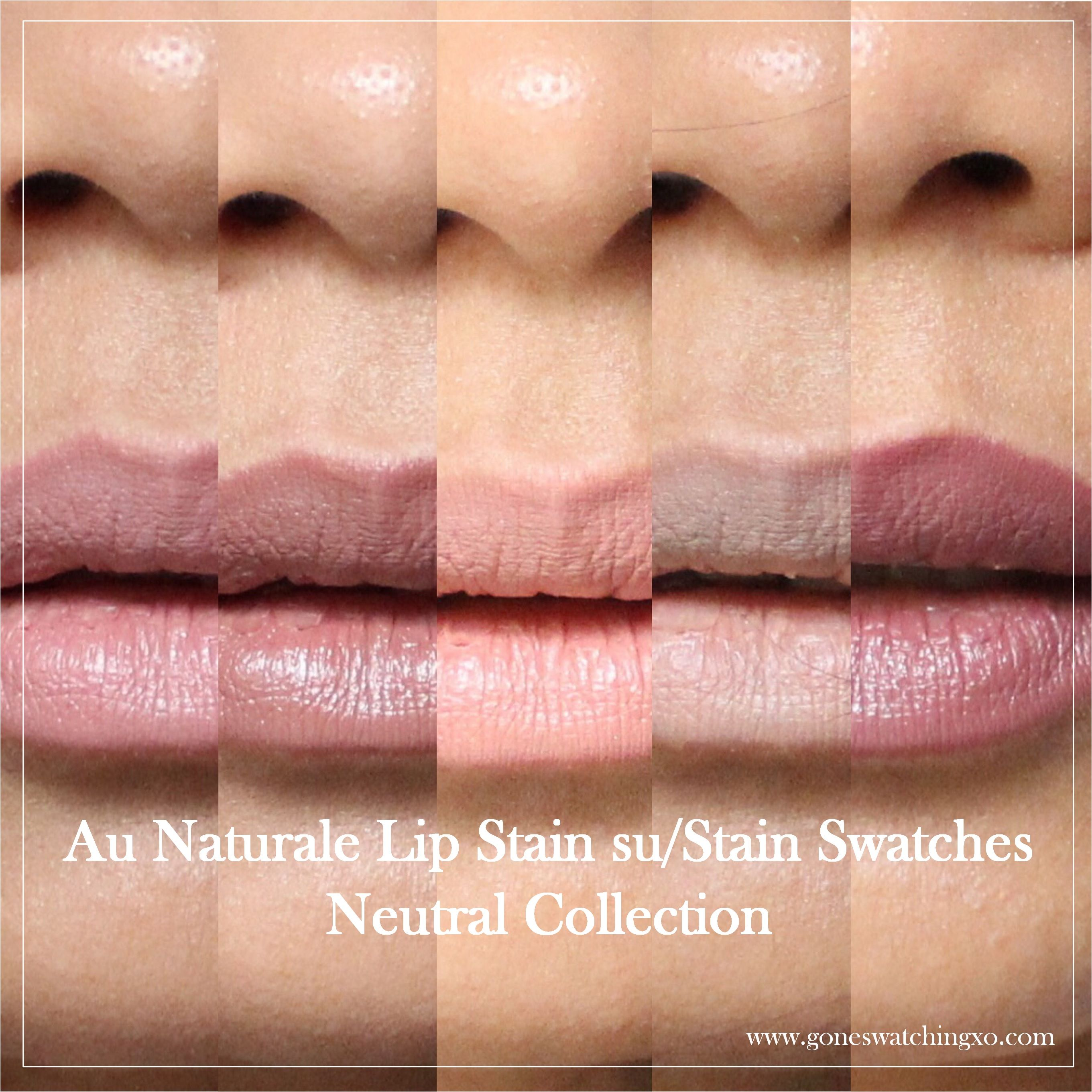 Au Naturale Cosmetics Su/Stain Matte Lip Stain Swatches