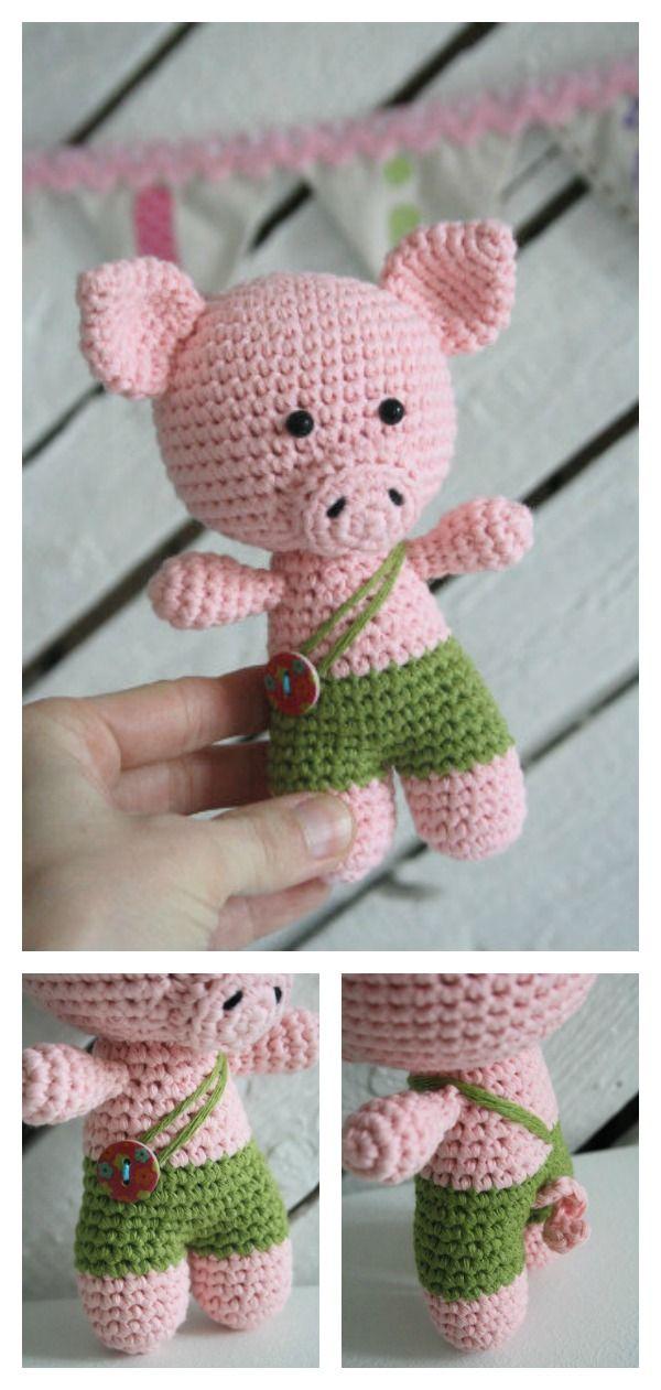 Crochet Amigurumi Pig Free Patterns | Patrones amigurumi, Vestidos ...