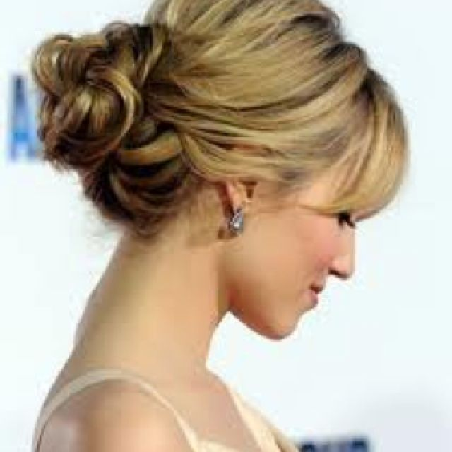 Low messy bun!! | Hair styles, Short hair updo, Hair lengths