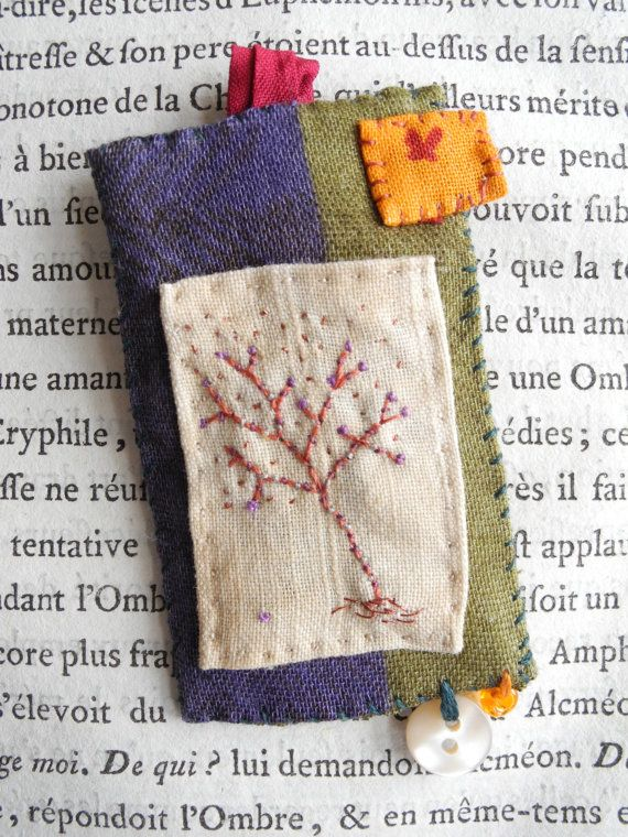 Embroidered tree brooch or necklace textile jewelry by giovabrusa