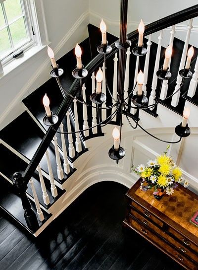 just beautiful black staircase, chandelier and foyer ~