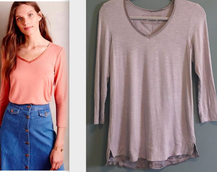f5553c8171b Anthropologie Pure Good Womens Top Satin Trim Lavender Tunic Tee Stretch  c81  Anthropologie  Blouse  Casual