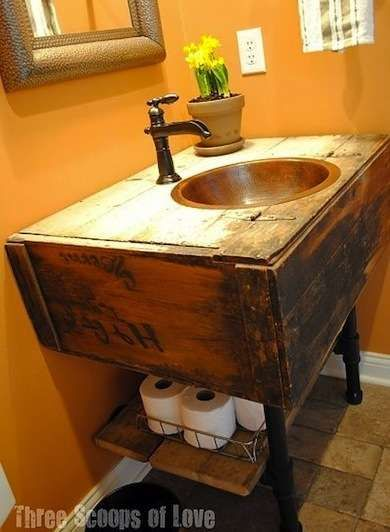 Salvaged wood and industrial pipe fitting DIY bathroom vanity