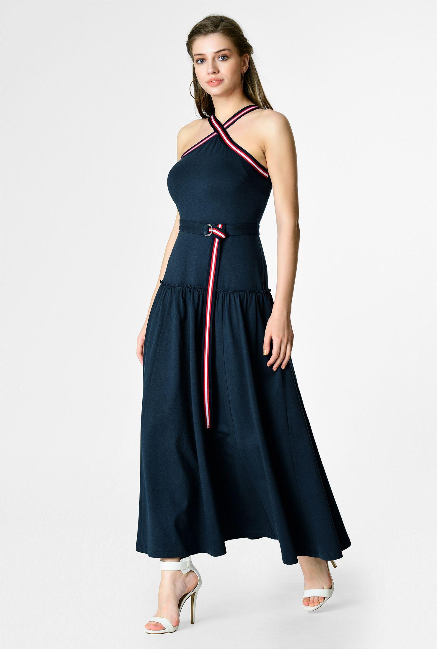 Ankle-Length Dresses, back zip dresses, cotton/spandex Dresses ...