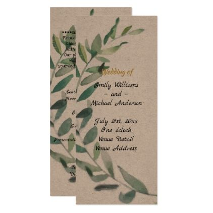 Olive Leaves Rustic Wedding Program Template Kraft  Wedding