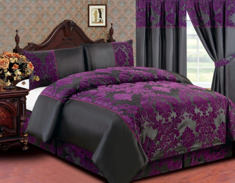 Stylish Dark Purple And Black Queen Size Bedding Feat Carving Wood Headboard Purple Bedding Sets Purple Bedding Black Bed Set