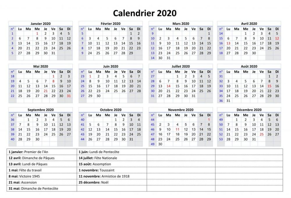 Calendrier 2019 Et 2022 Pdf Calendrier 2020 Maroc Imprimables [PDF,Word,Excel]   Calendrier