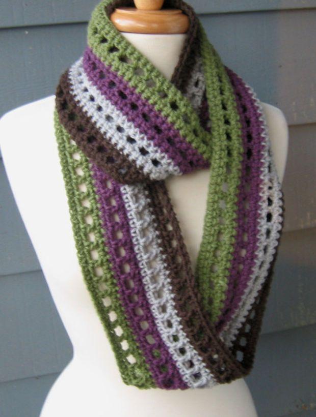 Striped Infinity Scarf 66 Inches Crochet Cowl By Artsycrochet