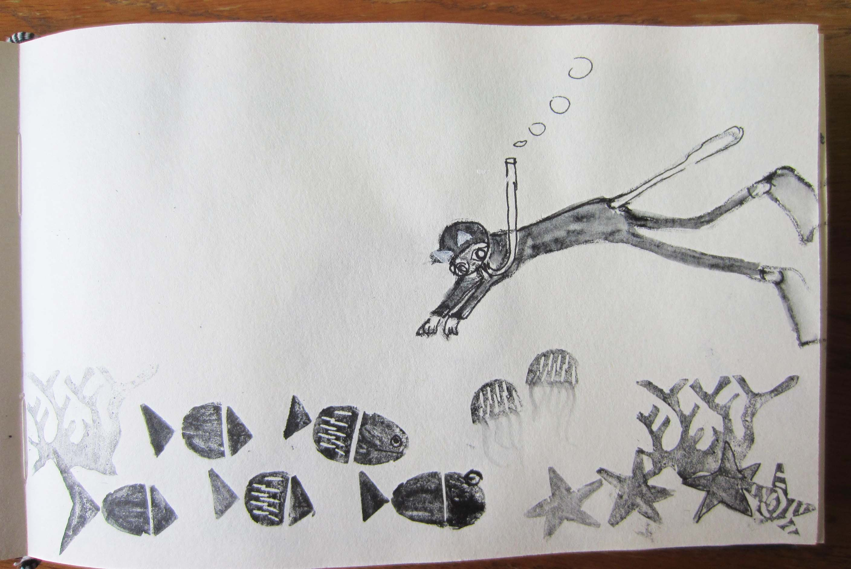 Jacinta la gata submarinista que trabaja en la feria...personaje por selección al azar de bolsa de palabras