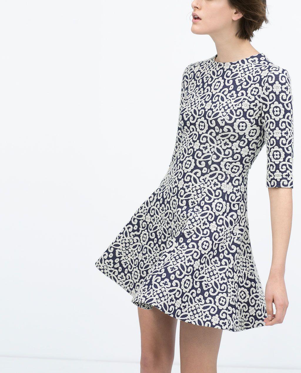 d6c1cc377371 Imagem 1 de VESTIDO JACQUARD COM RODA da Zara Mulher, Roupas Fashion, Moda  Mulhere