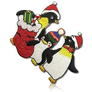 Three Penguins with Christmas Gifts and Santa Hats Applique Patch Iron on