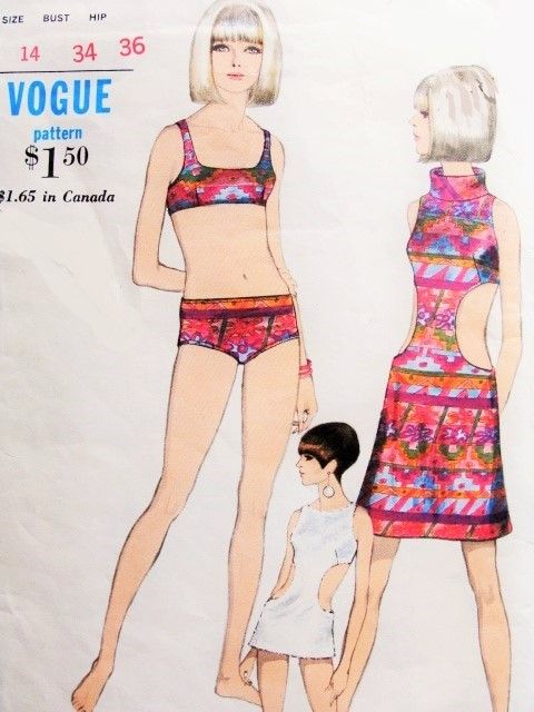 1960s Ultra Mod Bathing Suit, Swimsuit Cover Up Beach Dress Pattern Vogue 7073 Two Pc Swimming Suit Cover Up in 2 Lengths has Unique Cut Out Sides Bust 34 Vintage Sewing Pattern