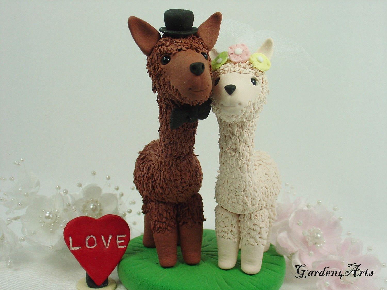 Custom wedding cake topperhappy llama love with clay