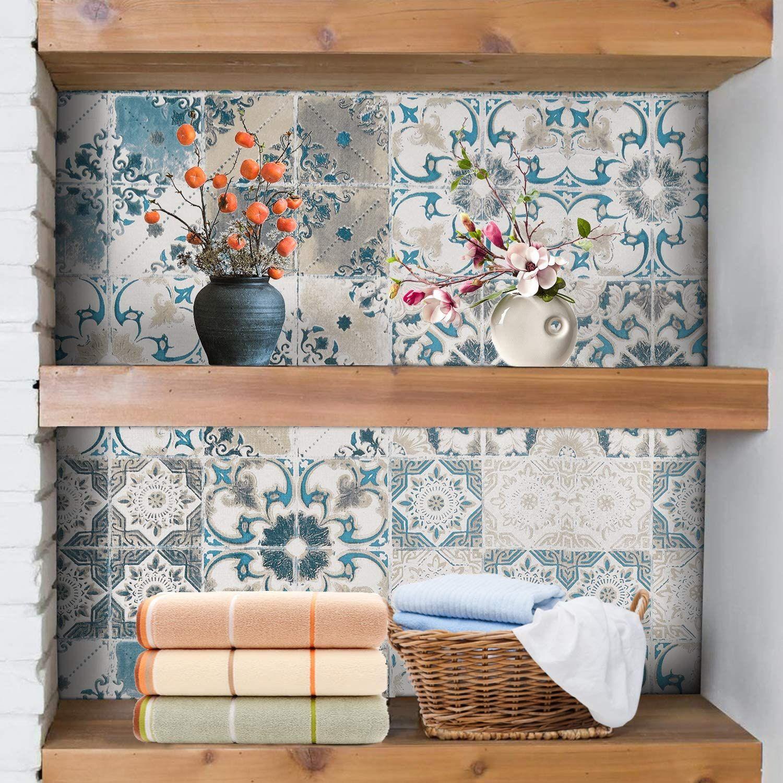 Melwod Blue Tile Wallpaper 78 7 X 17 7 Mediterranian Tile Peel And Stick Wallpaper Embossed Self Adhesive Wallpaper Water 3d Wall Tiles Blue Tiles Wall Tiles