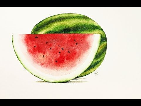 Tutorial 2242 Watercolor Watermelon Painting Demonstration