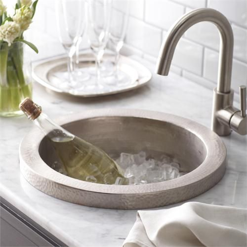 Hammered Nickel Silver Bar Sink   And Doubles As Ice Bucket.
