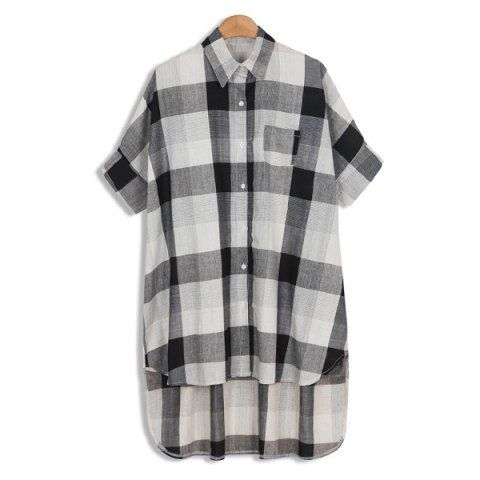 Europe Style Linen Plaided Print Turn-Down Collar Batwing Sleeves High-Low Hem Women's BlouseBlouses | RoseGal.com