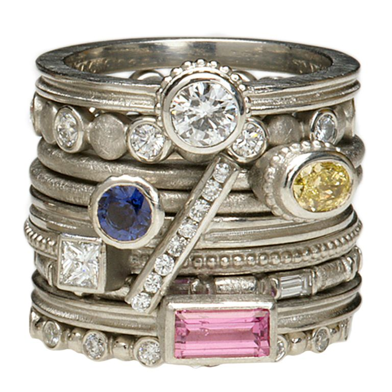 barbara heinrich assorted gemstone platinum stacking rings from a unique collection of vintage band rings