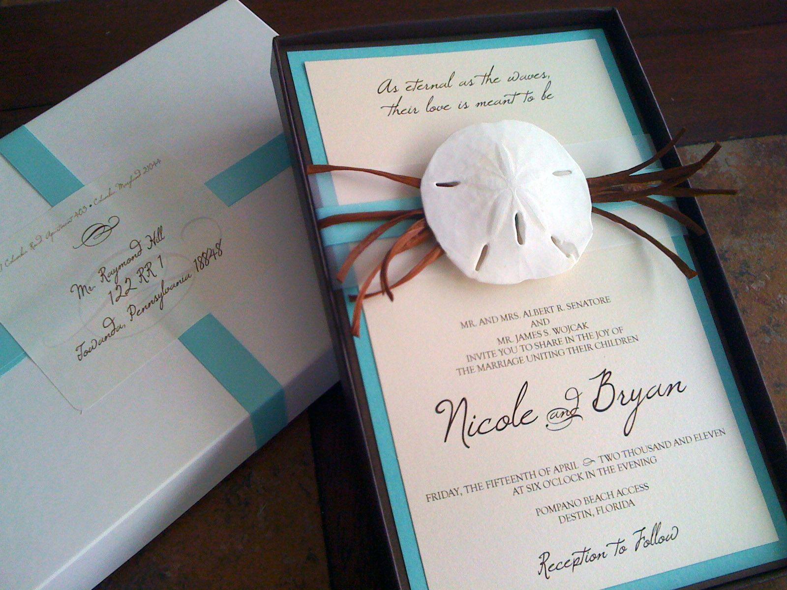 Idea para las invitaciones de boda de una boda en la playa | Box wedding  invitations, Wedding invitations rustic country, Fun wedding invitations