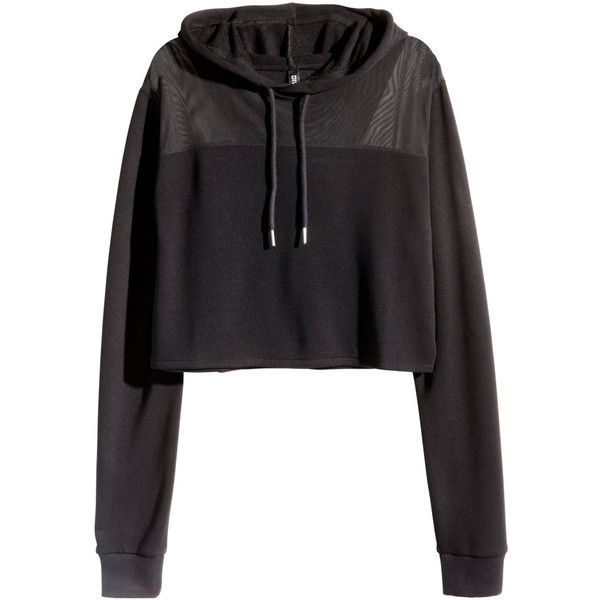 61673eddf39 H&M Cropped hooded sweatshirt ($20) ❤ liked on Polyvore featuring tops,  hoodies, sweatshirts, jackets, black, cropped hoodie sweatshirt, sweat  shirts, ...