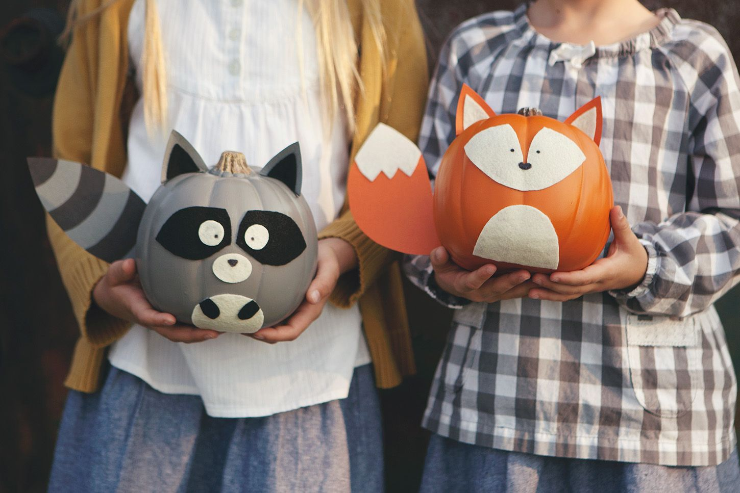 woodland creature no-carve pumpkins | woodland creatures, holidays