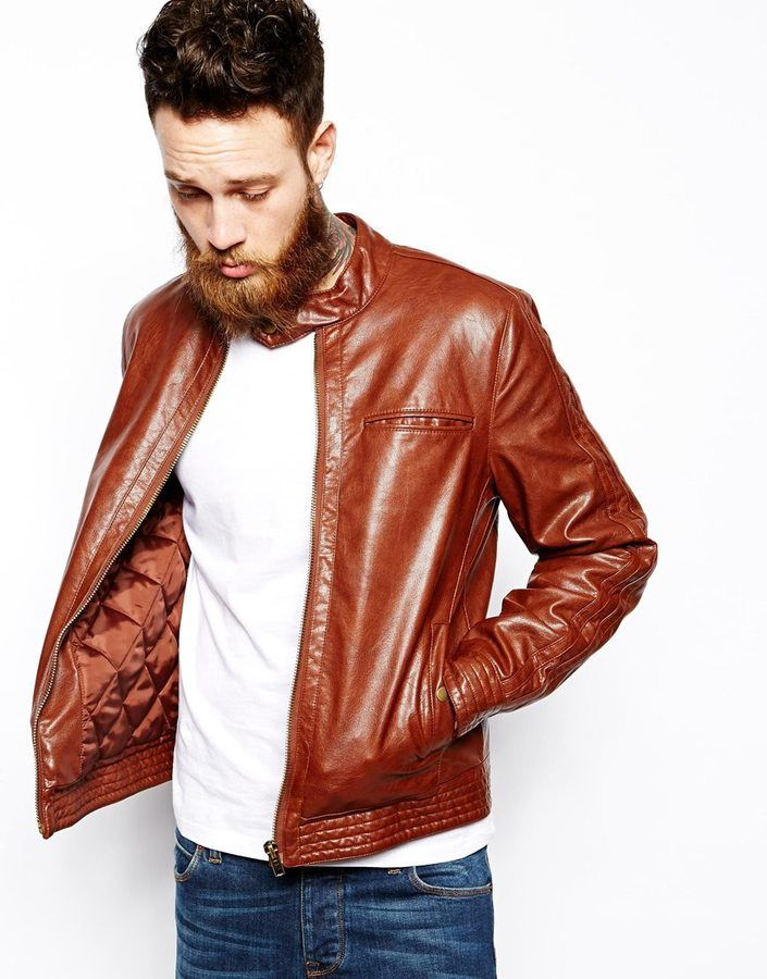 Brand Faux Leather Biker Jacket | Shops, ASOS and Bomber jackets