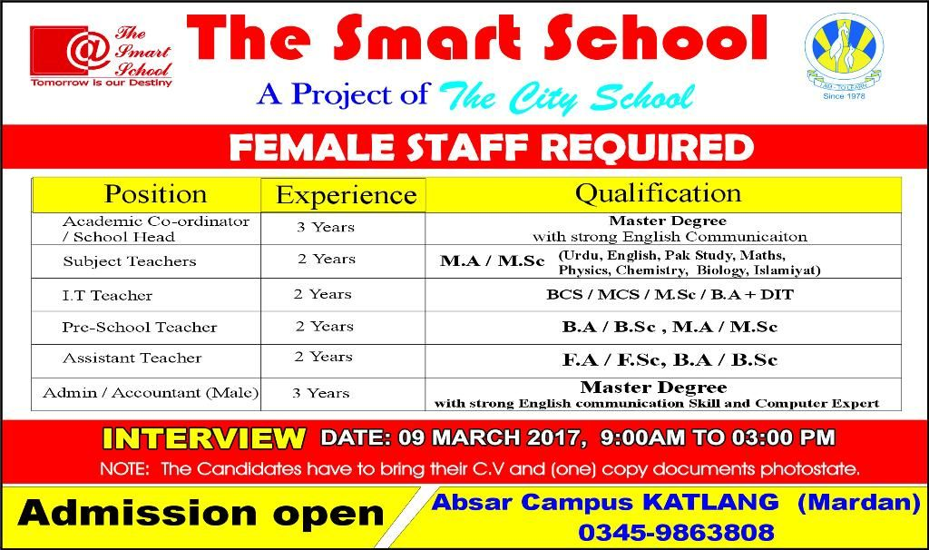 job opportunities in The Smart School mardan 6 march 2017 Jobs - admission form school