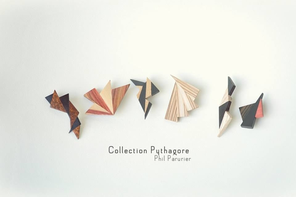 collection pythagore broche contemporaine. wooden brooch wooden jewelry  contemporary jewelery