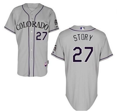 mens colorado rockies 27 trevor story gray road stitched baseball jersey