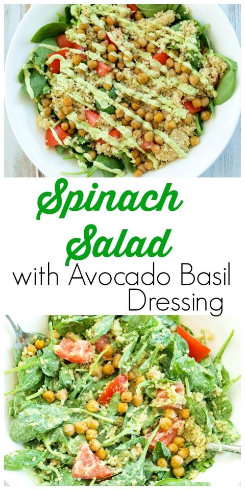 Spinach Salad with Quinoa, Crispy Chickpeas, Tomato, and Avocado Basil Dressing.  A hearty, filling salad that can be a meal in itself!  Easy healthy vegan recipe.