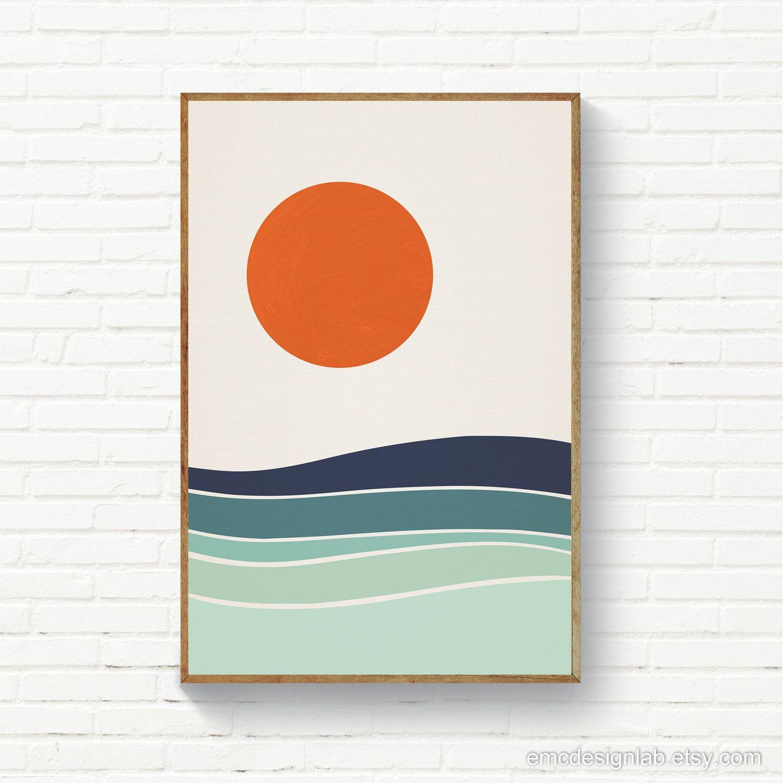 Sun Sea Waves Abstract Landscape Burnt Orange Sun Marine Etsy Abstract Landscape Art Abstract
