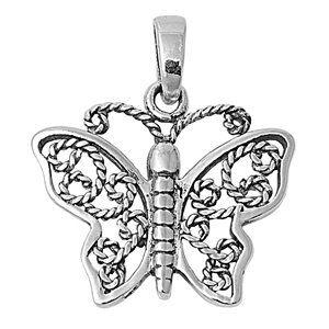 Sterling Silver Filigree Butterfly Pendant