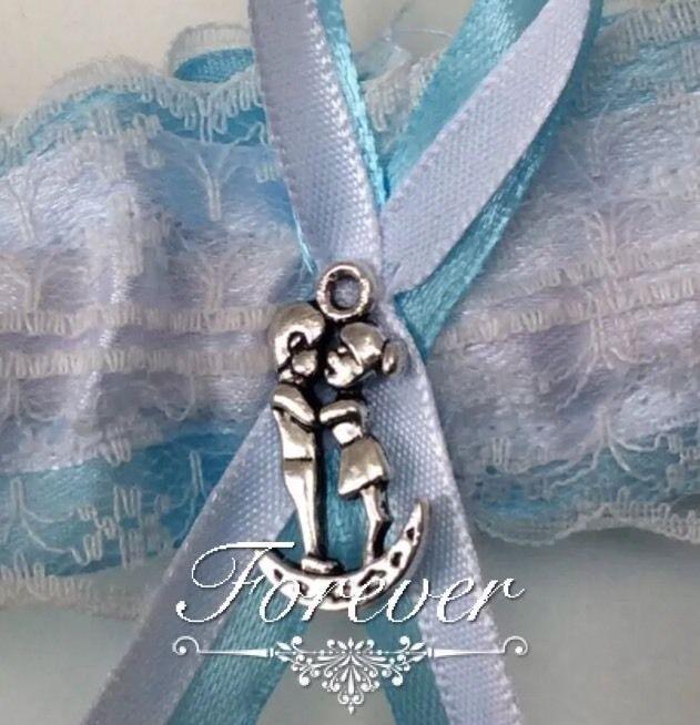 Blue Wedding Garter Uk: Something Blue Wedding Garter Love You To The Moon And
