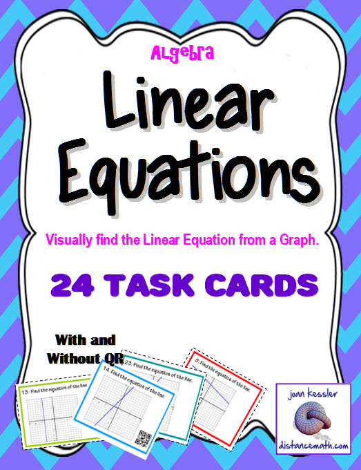 Find the Linear Equation from a Graph Task Cards QR plus