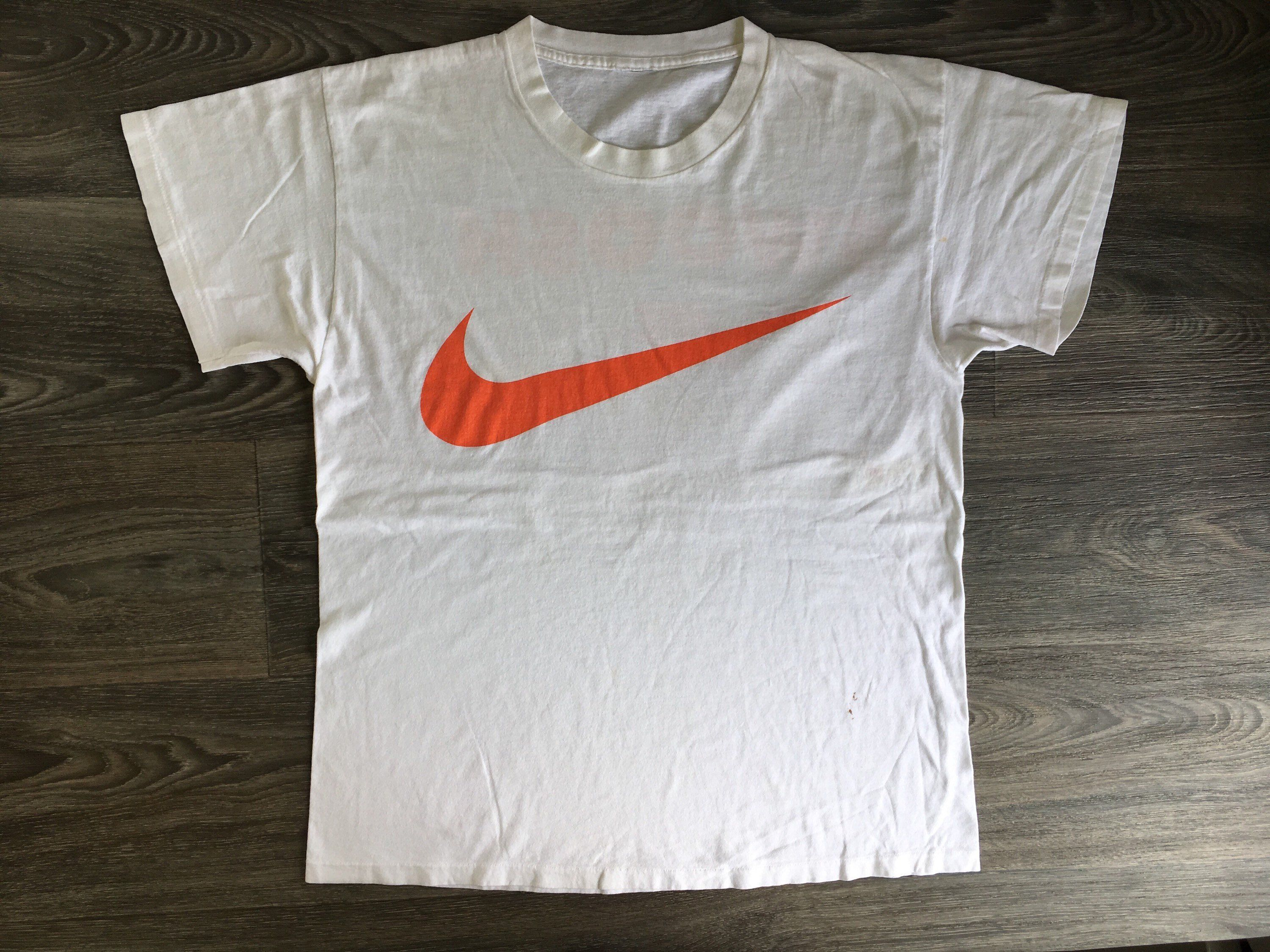 c1973cb1 NIKE Tshirt 90's Vintage Big Swoosh Shirt Giant Orange Double Sided White  Single Stitch Run Race Sports Tee Large by sweetVTGtshirt on Etsy