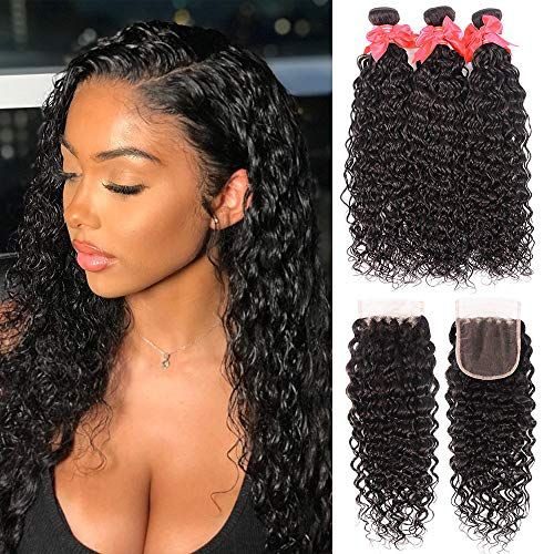 Wet And Wavy Bundles With Closure 10 12 14 10 8a Unprocessed Water Wave Hair 3 Bundles 100 Virgin B Wet And Wavy Hair Brazilian Human Hair Sew In Hairstyles